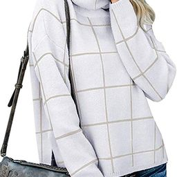 Womens Turtleneck Grid Pattern Loose Pullover Sweaters Long Sleeve Chunky Plaid Knitted Jumper To... | Amazon (US)