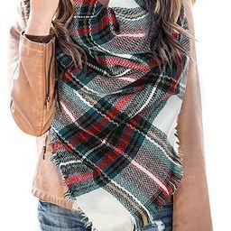 Womens Plaid Blanket Scarf Winter Soft Tassel Scarfs Gorgeous Wrap Shawl By Chuanqi | Amazon (US)