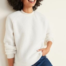 Mock-Neck Raglan-Sleeve Sherpa Sweatshirt for Women | Old Navy (US)