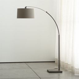 Dexter Arc Floor Lamp with Grey Shade + Reviews | Crate and Barrel | Crate & Barrel