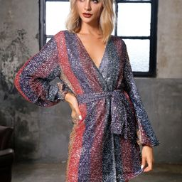 DKRX Striped Color-block Belted Wrap Sequin Dress   SHEIN