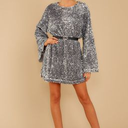 Into The Night Silver Sequin Dress   Red Dress