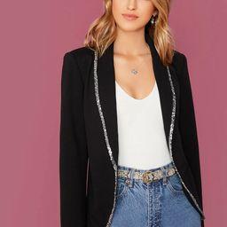 SHEINSequin Trim Shawl Collar Tailored Blazer   SHEIN
