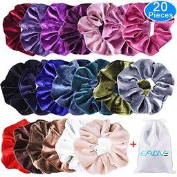 EAONE 20 Pack Velvet Hair Scrunchies Colorful Velvet Hair Ties Scrunchy Bobble Hair Bands, 20 Col... | Amazon (US)