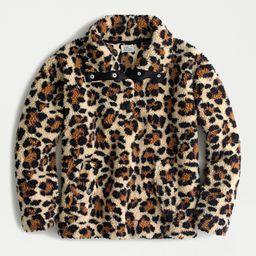 Snap collar sherpa sweatshirt in leopard | J.Crew US