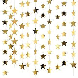 Patelai 130 Feet Golden Glitter Star Paper Garland Hanging Decoration for Wedding Birthday Christ...   Amazon (US)