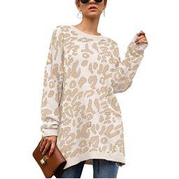 Nekosi Womens Leopard Print Sweater Casual Long Sleeve Round Neck Oversized Tops   Amazon (US)