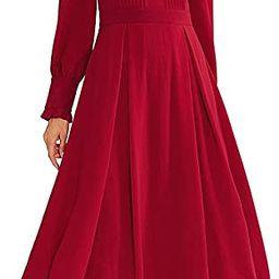 Women's Elegant Frilled Long Sleeve Pleated Fit & Flare Dress   Amazon (US)