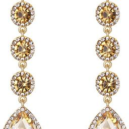 Women's Elegant Wedding Bridal Crystal Beaded Teardrop Chandelier Dangle Earrings   Amazon (US)