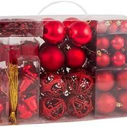 BRUBAKER 102 Pack Assorted Christmas Ball Ornaments - Shatterproof - with Green Pickle and Tree T... | Amazon (US)