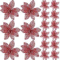 SATINIOR 20 Pieces Glitter Christmas Tree Ornaments Artificial Wedding Christmas Poinsettia Flowe... | Amazon (US)