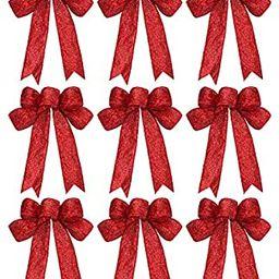 WILLBOND 9 Pieces Christmas Ribbon Bows Glitter Christmas Bow Christmas Wreath Bow for Christmas ... | Amazon (US)