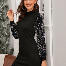 Mock-neck Sequin Sleeve Bodycon Dress   SHEIN