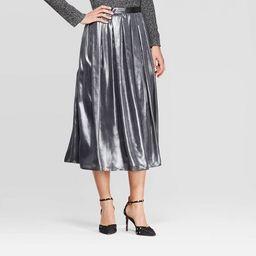 Women's Mid-Rise Flowy Midi Skirt - Who What Wear™ Silver | Target