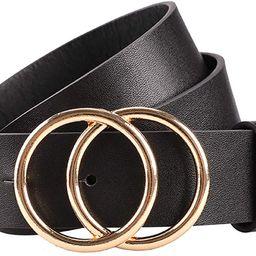 Women's Leather Belt Fashion Soft Faux Leather Waist Belts For Jeans Dress | Amazon (US)