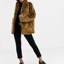 ASOS DESIGN stand collar faux fur coat in brown   ASOS US