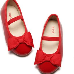 Girls Flat Mary Jane Shoes Slip-on School Party Dress Ballerina Shoe (Toddler/Little Kids) | Amazon (US)