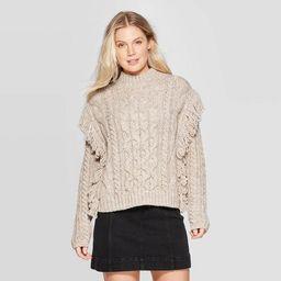 Women's Long Sleeve Mock Turtleneck Cable Fringe Pullover Sweater- Universal Thread™ | Target