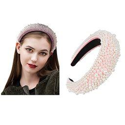 Padded Headbands Pearl Fashion Women Thick Velvet Hair Accessories Head Band Fashion Headwear Wid... | Amazon (US)
