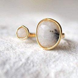 Double Stone Labradorite Open Circle Gemstone Ring   Amazon (US)