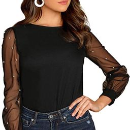 Women's Pearl Beading Sheer Mesh Sleeve Blouse Tops | Amazon (US)