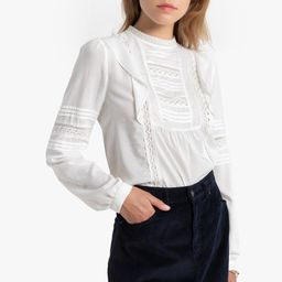 High Neck Ruffled Blouse with Embroidery and Long Sleeves | La Redoute (UK)