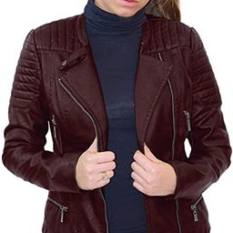 Womens Faux Leather Moto Biker Jacket with Pockets | Amazon (US)