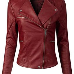 Women's Long Sleeve Zipper Closure Moto Biker Faux Leather Jacket | Amazon (US)