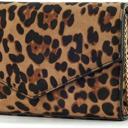 Leopard Print Envelope Evening Clutch Women Chain Shoulder Bag | Amazon (US)