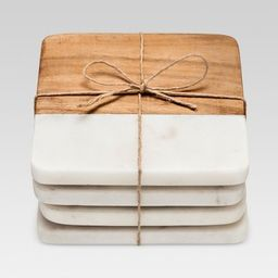 4pk Marble & Acacia Wood Coasters - Threshold™   Target