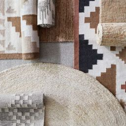 Tejal Area Rug - Camel | Modern Kilim Rug in Tan at The Citizenry | The Citizenry