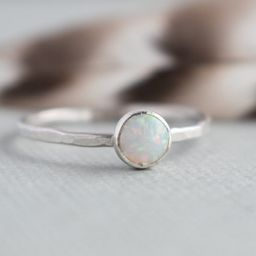 White Opal Ring -  Sterling Silver - Opal Gemstone Stackable Rings - Gemstone Rings for women -Da...   Etsy (US)
