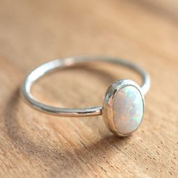 Sterling Silver White Opal Ring // Simulated Opal Stacking Ring // October Birthstone Ring // Opa...   Etsy (US)