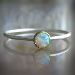 silver opal ring - gemstone rings for women - skinny ring - delicate opal ring - white opal ring   Etsy (US)