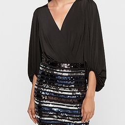 high waisted double stripe sequin mini skirt | Express