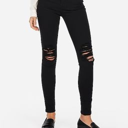 high waisted black ripped jean leggings | Express