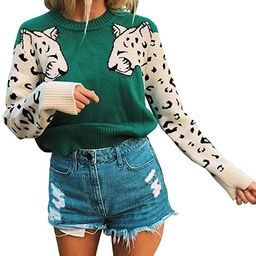 Women's Leopard Sleeve Sweater Long Sleeve Crew Neck Knitted Pullover Sweater | Amazon (US)