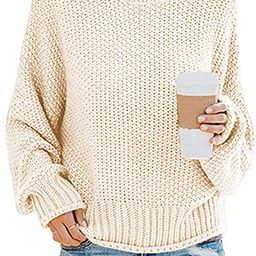Womens Oversized Turtleneck Knit Sweaters Casual Chunky Baggy Pullover Batwing Long Sleeve Loose ... | Amazon (US)