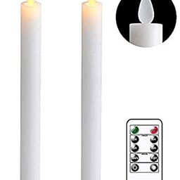 DRomance White Flameless Taper Candles with Remote and Timer, Moving Wick LED Flickering Window C...   Amazon (US)
