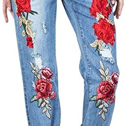 Women's Fashion Rose Embroidered Jeans Destroyed Ripped Hole Straight-Leg Boyfriend Denim Pants | Amazon (US)