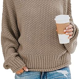 Women's Turtleneck Sweaters Long Batwing Sleeve Oversized Chunky Knitted Pullover Tops   Amazon (US)