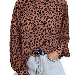 Valphsio Womens Long Sleeve Turtleneck Blouse Leopard Print Loose Nightout Shirt Tops   Amazon (US)
