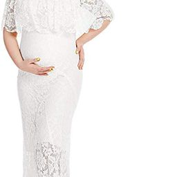 Women's Off Shoulder Short Sleeve Ruffles Lace Maternity Gown Maxi Photography Dress | Amazon (US)