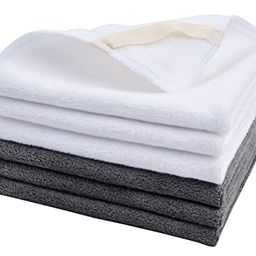 Sinland Microfiber Facial Cloths Fast Drying Washcloth 12inch x 12inch Grey 3pack + White 3pack   Amazon (US)