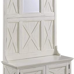 Home Styles Rustic Seaside Lodge White Hall Tree, Full Bench, Two Cabinet Doors, Beveled Glass Mi... | Amazon (US)
