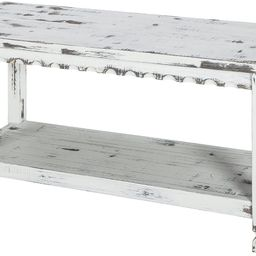 Rustic Cottage Bench with 1 Shelf, White Antique | Amazon (US)