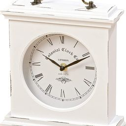WHW Whole House Worlds Iconic Colonial Mantel Clock, Roman Numerals, Vintage Style, Glass, White,... | Amazon (US)