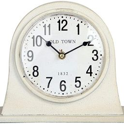 Lily's Home Antique Inspired Farmhouse Desk Or Mantel Clock, Battery Powered, Metal Body, Ivory | Amazon (US)