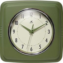 "Infinity Instruments Square Retro 9.25"" Wall Clock, Sage Green   Amazon (US)"