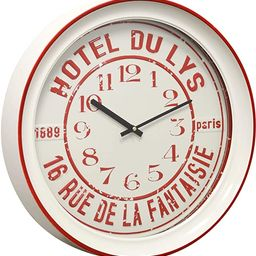 Semi-Gloss White and Red Round Hotel Vintage Wall Clock with Glass Front Metal   Amazon (US)